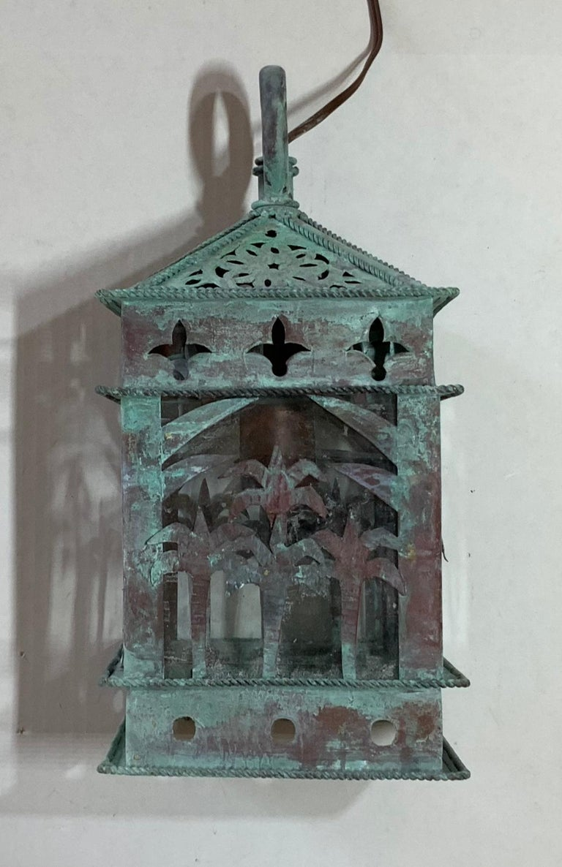Small Vintage Hanging Copper Lantern 1
