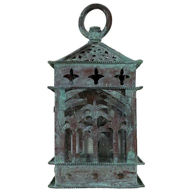 Small Vintage Hanging Copper Lantern