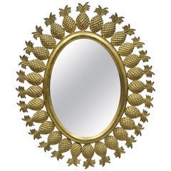 Small Vintage Hollywood Regency Brass Pineapple Sunburst Oval Wall Mirror