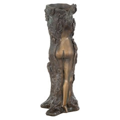 Small Vintage Lost Wax Cast Bronze Dryad Tree Nymph Candle Holder