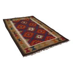 Small Vintage Maimana Kilim Carpet, Middle Eastern, Prayer Mat, Rug, Circa 1970
