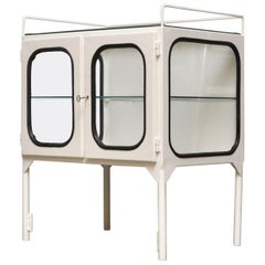 Small Vintage Medical Cabinet in Iron & Glass, 1970s