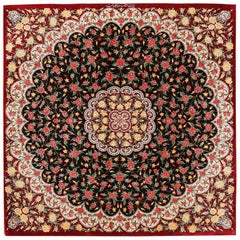Small Vintage Persian Silk Qum Rug. 3 ft 4 in x 3 ft 4 in
