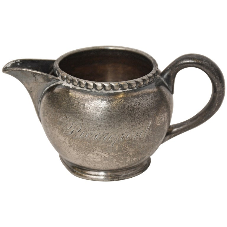 Small Vintage Pewter Creamer Stamped Pierrepont For Sale