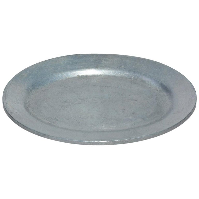 Small Vintage Pewter Platter For Sale