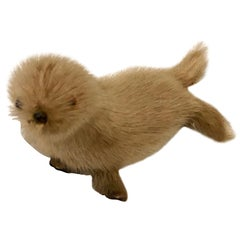 Small Vintage Seal Sculpture Made of Real Fur