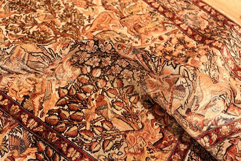 Small Vintage Silk Metallic Turkish Hereke Animal Rug For Sale 5