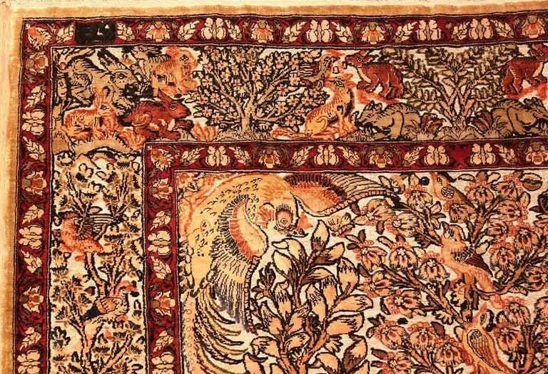 Small Vintage Silk Metallic Turkish Hereke Animal Rug For Sale 6