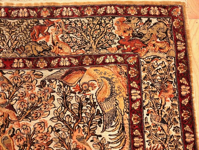 Small Vintage Silk Metallic Turkish Hereke Animal Rug For Sale 7