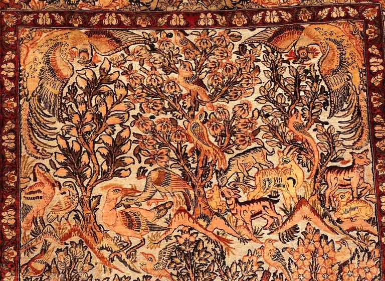 Small Vintage Silk Metallic Turkish Hereke Animal Rug For Sale 8