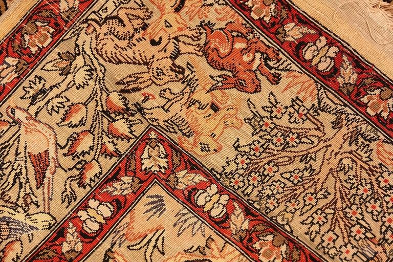 Oushak Small Vintage Silk Metallic Turkish Hereke Animal Rug For Sale
