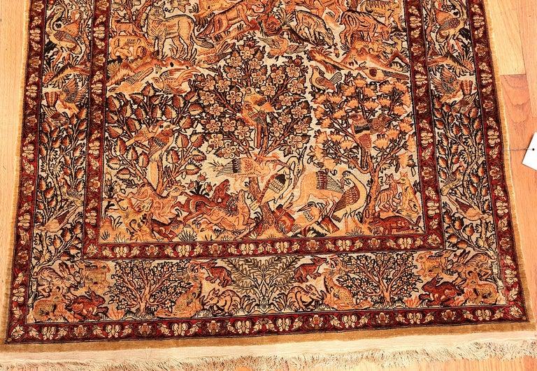 Hand-Knotted Small Vintage Silk Metallic Turkish Hereke Animal Rug For Sale