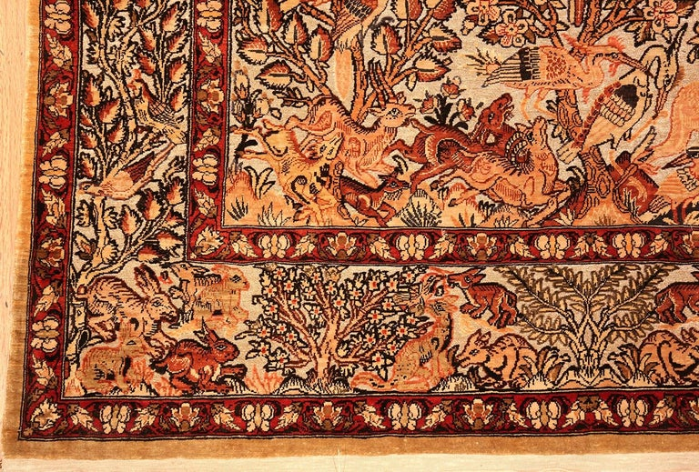 Small Vintage Silk Metallic Turkish Hereke Animal Rug In Good Condition For Sale In New York, NY