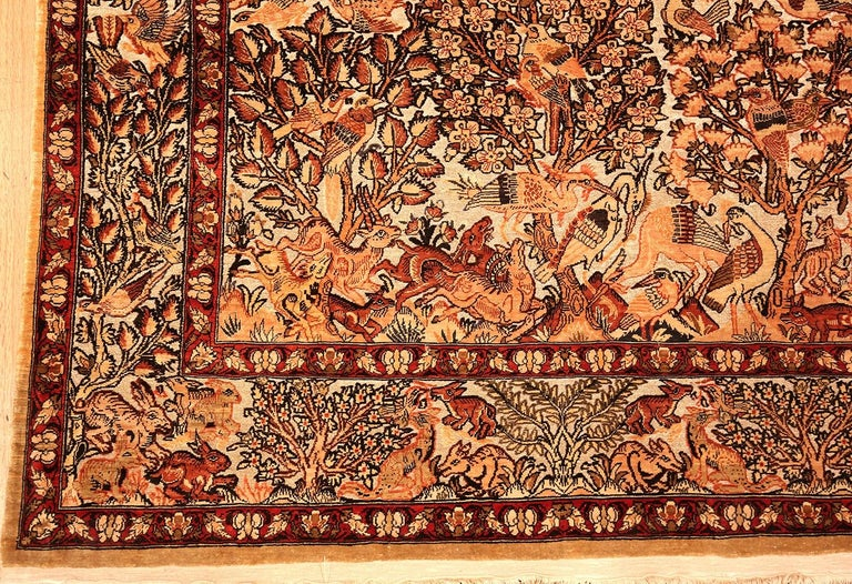 20th Century Small Vintage Silk Metallic Turkish Hereke Animal Rug For Sale