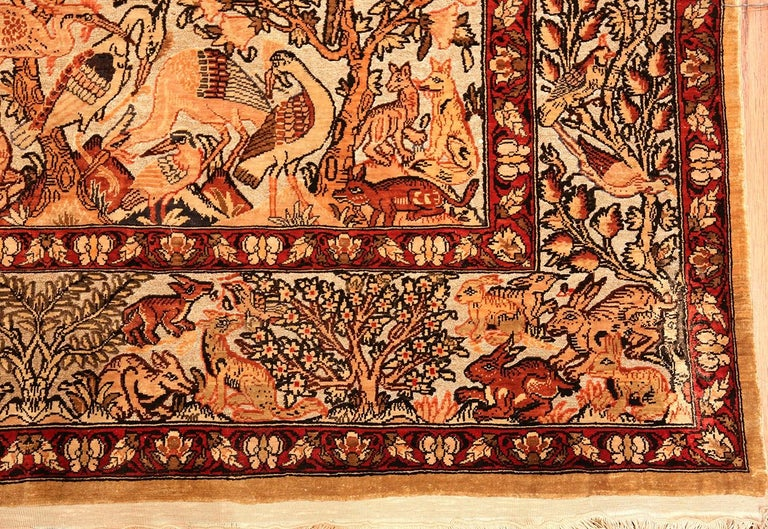 Wool Small Vintage Silk Metallic Turkish Hereke Animal Rug For Sale