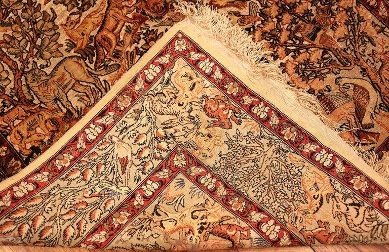 Small Vintage Silk Metallic Turkish Hereke Animal Rug For Sale 2