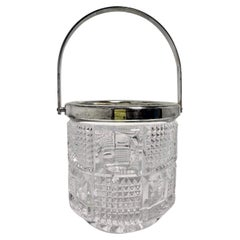 Small Vintage Silver-Plate and Crystal Glass Ice Bucket, Circa 1940-1950