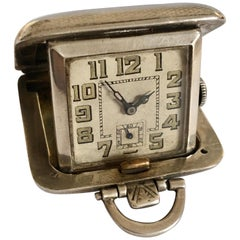 Small Vintage Silver Travel Clock