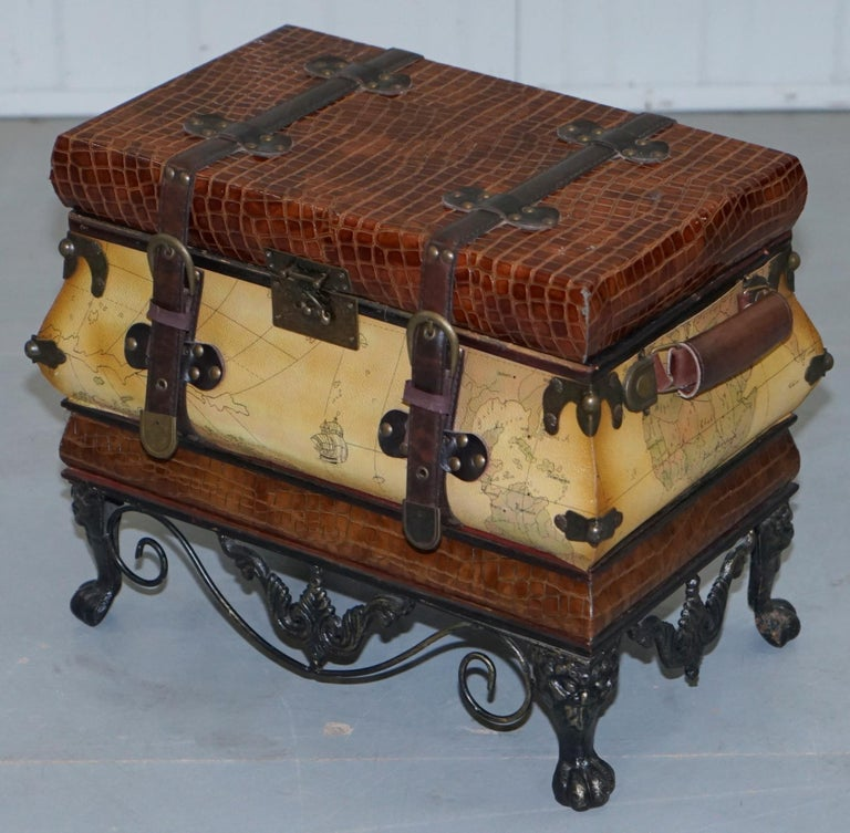 Luggage Style Furniture: Small Vintage Style Luggage Trunk Chest Wrought Iron Base