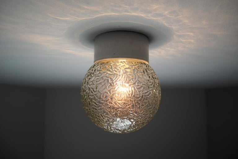 Small Vintage Wall/Ceiling Lights with Glass and Porcelain Base, France, 1960s For Sale 4