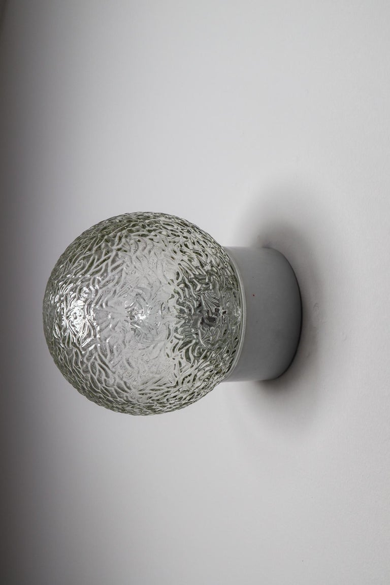 French Small Vintage Wall/Ceiling Lights with Glass and Porcelain Base, France, 1960s For Sale
