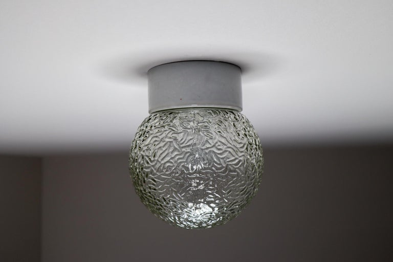 Mid-20th Century Small Vintage Wall/Ceiling Lights with Glass and Porcelain Base, France, 1960s For Sale