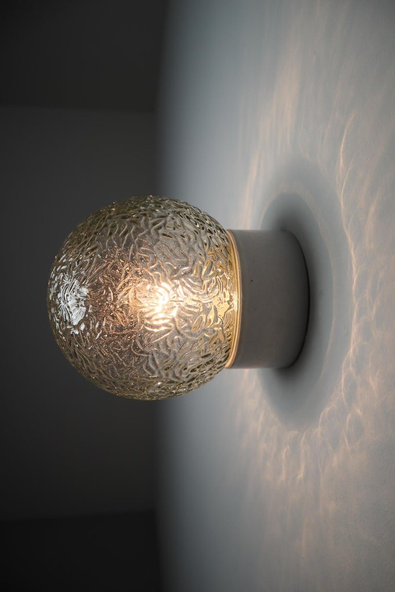 Small Vintage Wall/Ceiling Lights with Glass and Porcelain Base, France, 1960s For Sale 2
