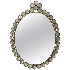 Small Wall Mirror with Decorative Glass and Brass Frame, Mid-20th Century France