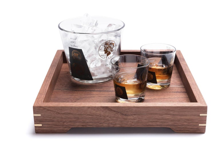 American Craftsman Small Walnut Wood and Brass Tray for Barware or Display by Alabama Sawyer
