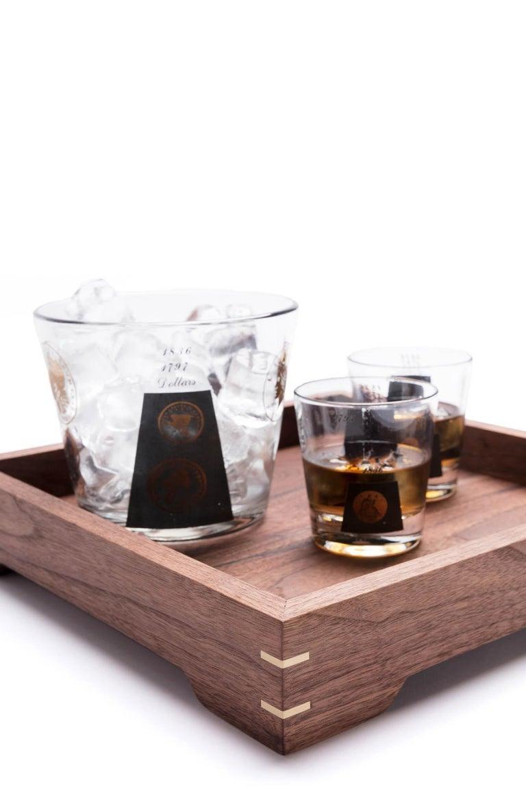 American Small Walnut Wood and Brass Tray for Barware or Display by Alabama Sawyer