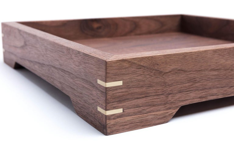 Hand-Crafted Small Walnut Wood and Brass Tray for Barware or Display by Alabama Sawyer For Sale