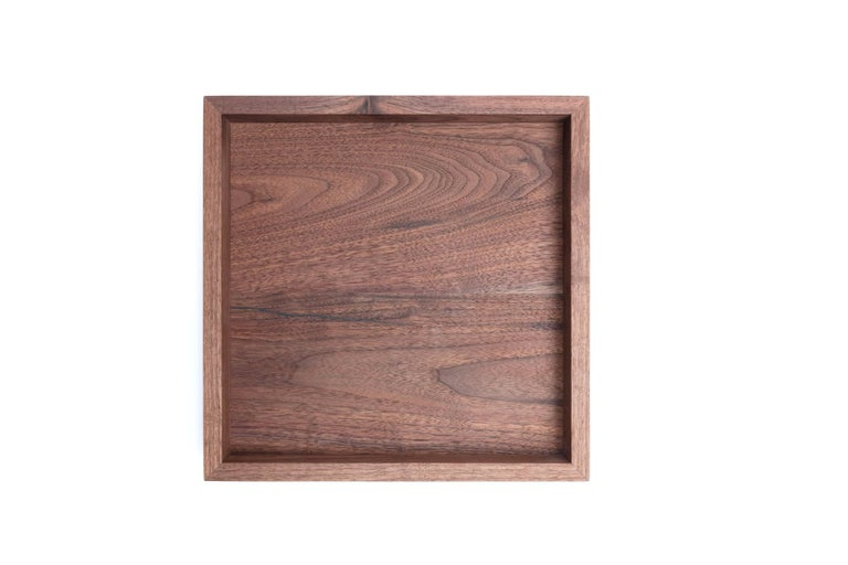 Small Walnut Wood and Brass Tray for Barware or Display by Alabama Sawyer In New Condition In Birmingham, AL