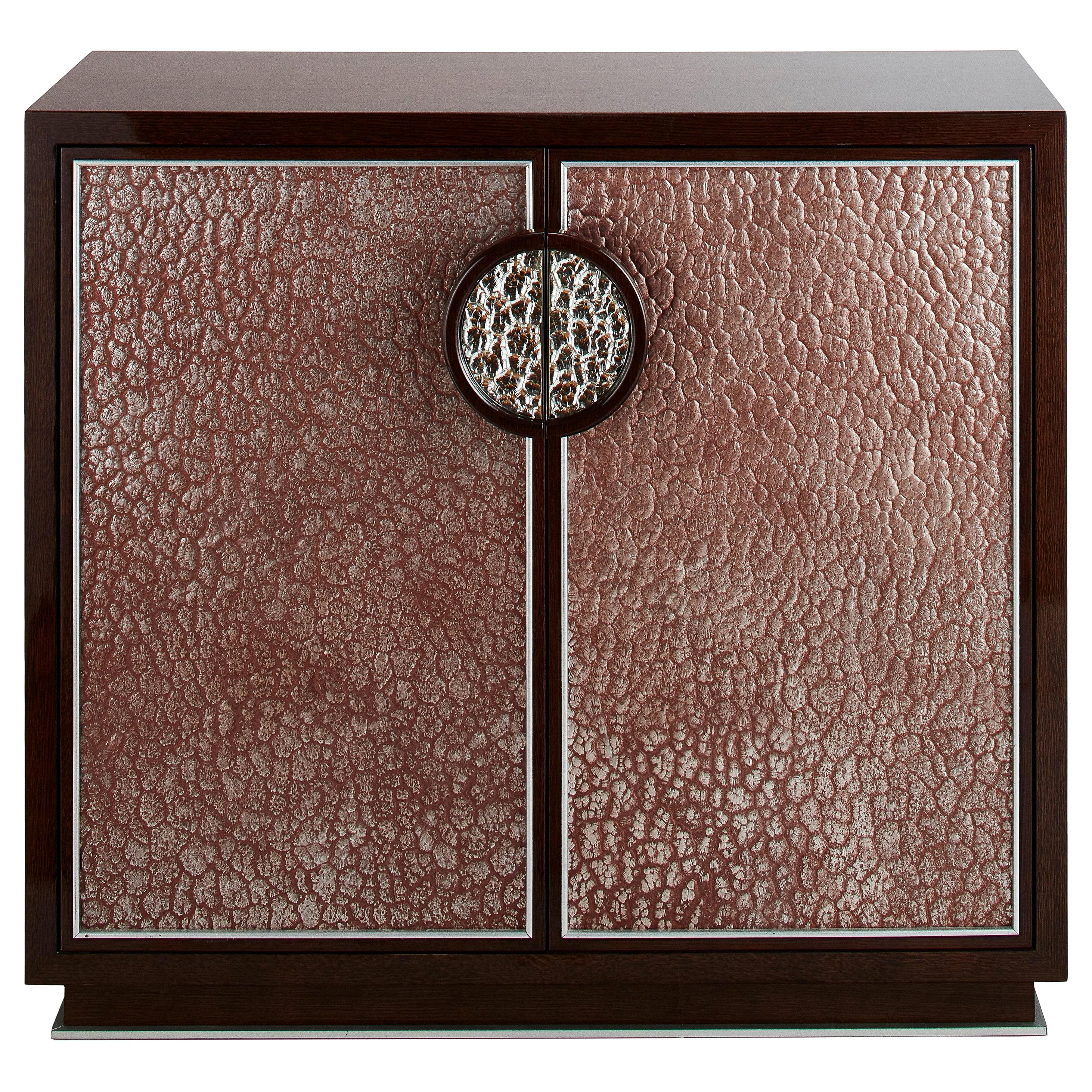 Small Walnut Veneer Cabinet with Decorative Glass Platine Panels, Available Now