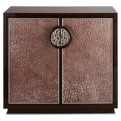 Small Walnut Veneer Cabinet with Decorative Glass Patine Panels, Customizable