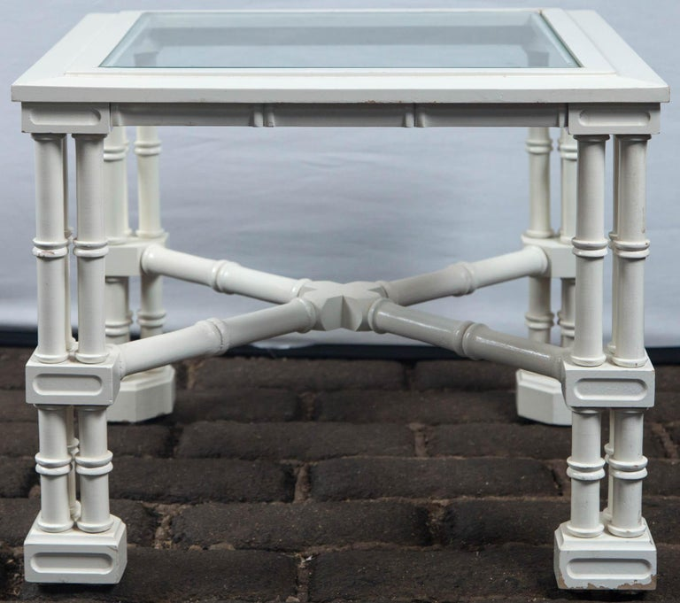 Late 20th Century Small White Faux Bamboo Fretwork Table For Sale