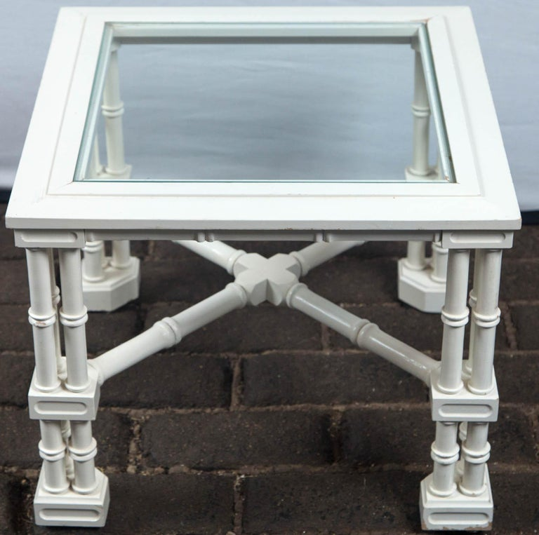 Small White Faux Bamboo Fretwork Table For Sale 1