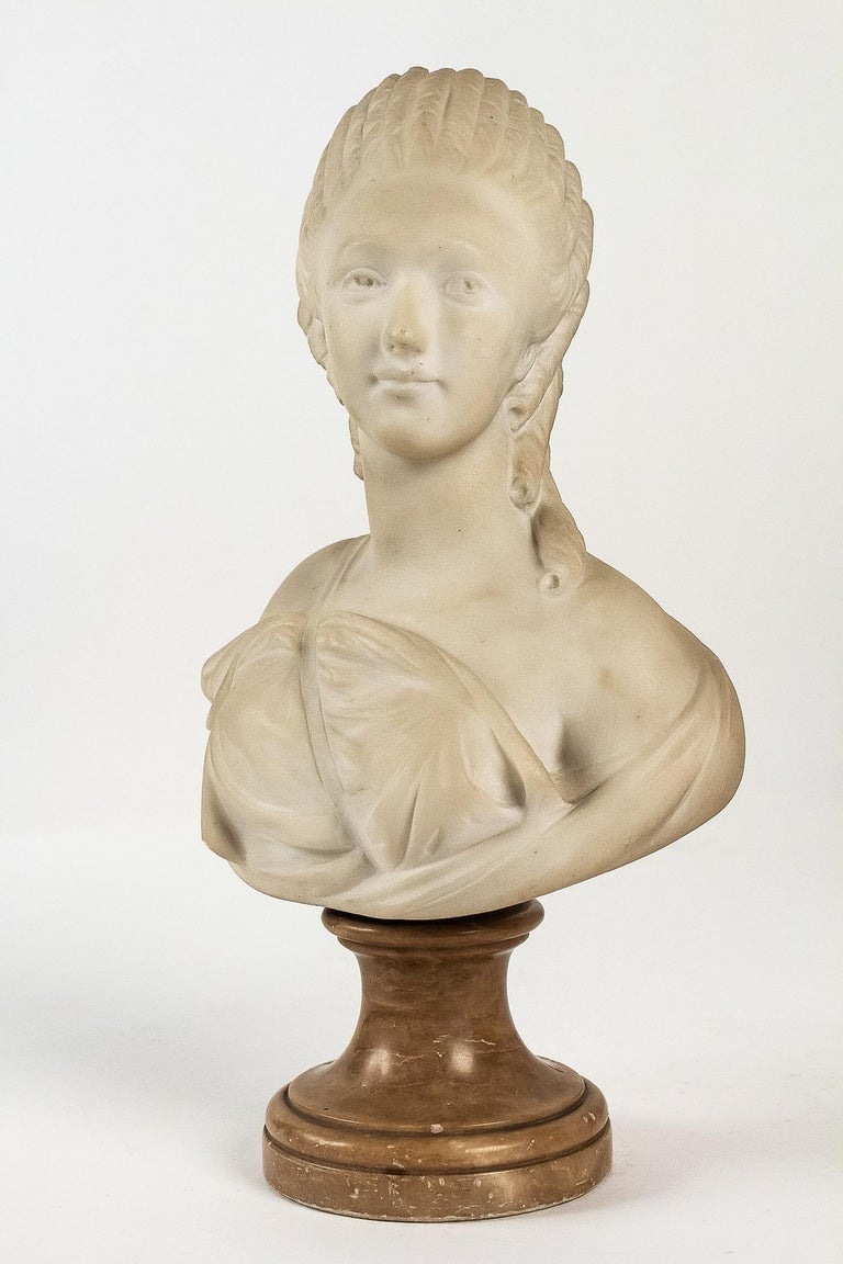 Small White Marble Bust of Countess du Barry, after Augustin Pajou For Sale 3