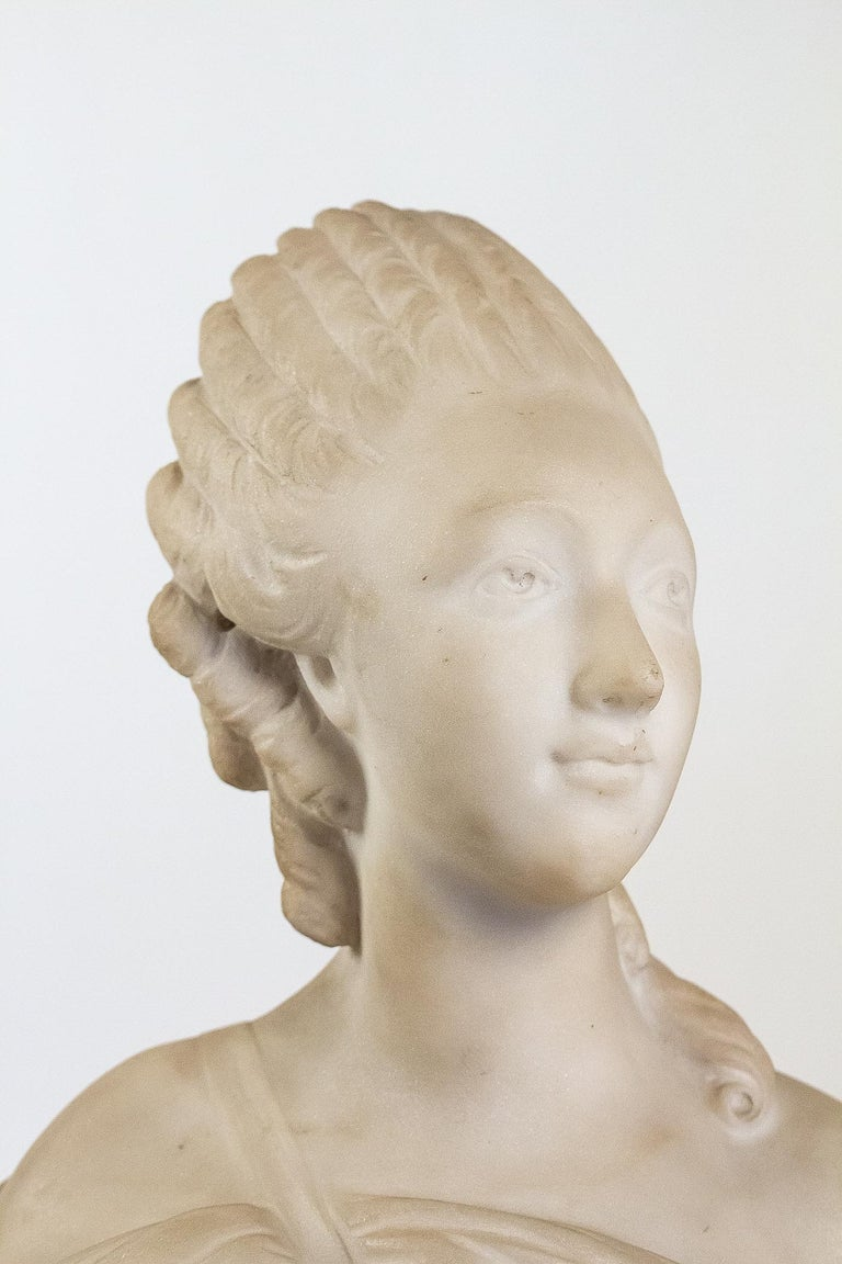 Louis XV Small White Marble Bust of Countess du Barry, after Augustin Pajou For Sale