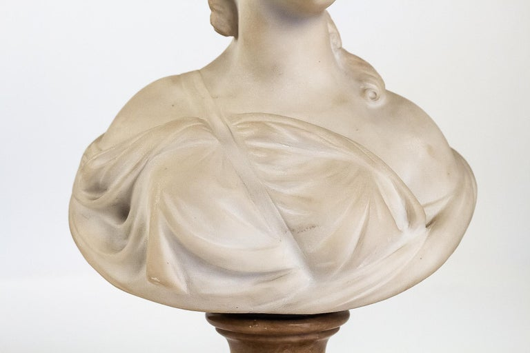 French Small White Marble Bust of Countess du Barry, after Augustin Pajou For Sale