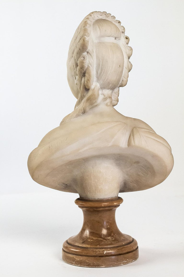 19th Century Small White Marble Bust of Countess du Barry, after Augustin Pajou For Sale
