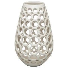 Small White Pierced Elongated Teardrop Shaped Tabletop Sculpture/ Candleholder