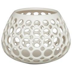 Small White Pierced Wide Teardrop Shaped Tabletop Sculpture/ Candleholder