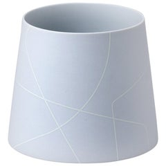 Small Matte Light Grey Conical Ceramic Vase with Graphic Line Pattern