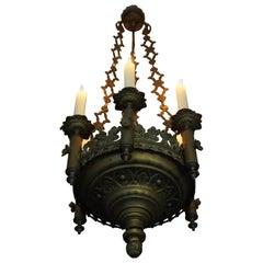 Small & Wonderful Bronze & Brass Gothic Revival Church Pendant Six Candleholder
