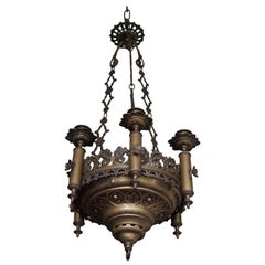 Small & Wonderful Bronze & Brass Gothic Revival Church Pendant Six Candle Light