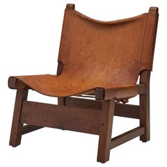 Small Wood and Leather Chair by a European Cabinetmaker, Europe ca 1950s