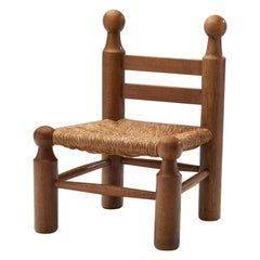 Small Wood and Wicker Chair by a European Cabinetmaker, Europe ca 1950s