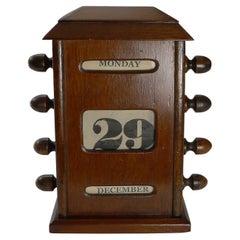 Small Wooden Desk-top Perpetual Calendar, c.1910