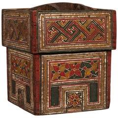 Small Wooden Thai Betel Nut Box with Polychrome Geometrical and Floral Patterns