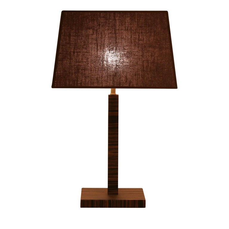 Modern Small Woody Table Lamp For Sale